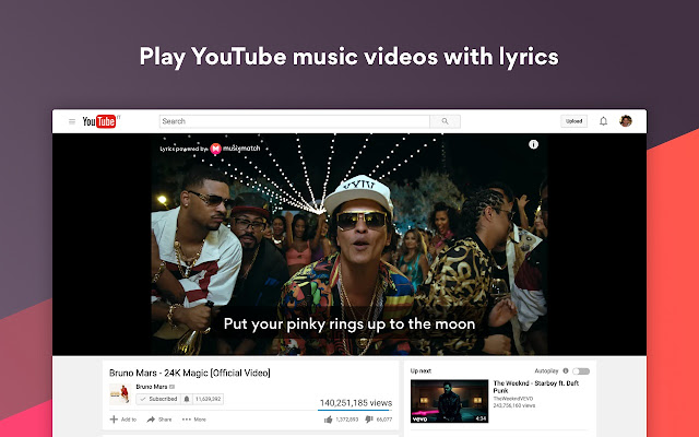 Musixmatch Lyrics for YouTube Screenshot