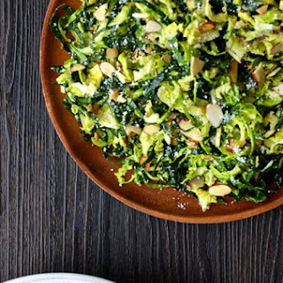 Shredded Kale and Brussels Sprout Salad with Lemon Dressing