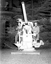 Photo: Patrick Alonzo Tillery + __ manning anti-aircraft gun on UT campus - 1952
