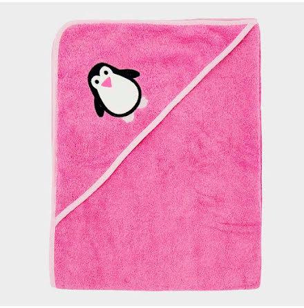 Badcape rosa ekologisk bomull, 100×100 cm