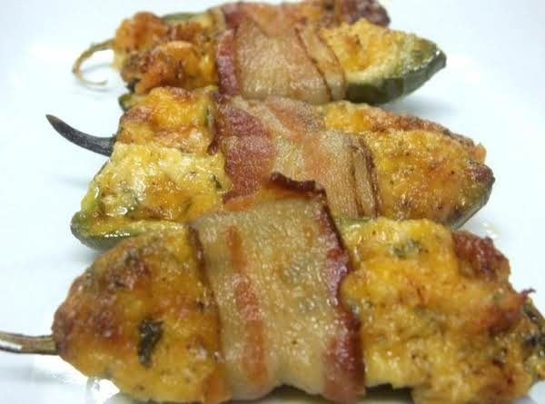 Bacon Wrapped Crab Jalapeno Poppers