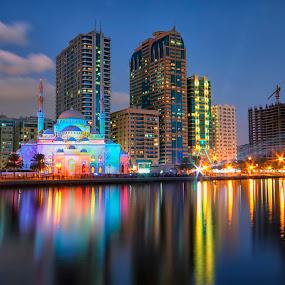 Al Madjaz Park  by Ricky Pagador - City,  Street & Park  City Parks ( reflection, park, cityscape )