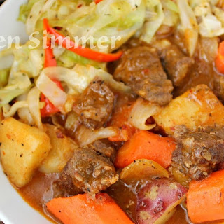 Beef and Bacon Stew with Sauteed Cabbage