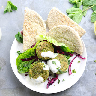 Garden Pea Falafel with Tahini Yogurt Sauce