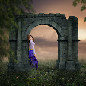Juanita by Frank Quax - Digital Art People ( places, mood, photoshop, rose, arch, manipulation, creative, photography, landscape, editing )