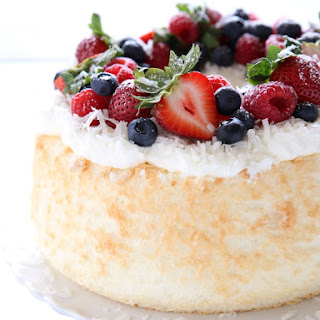 Coconut Angel Food Cake with Berries.
