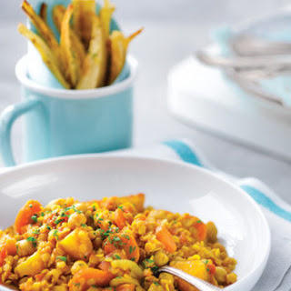 Moroccan Red Lentil Stew with Parsnip Fries