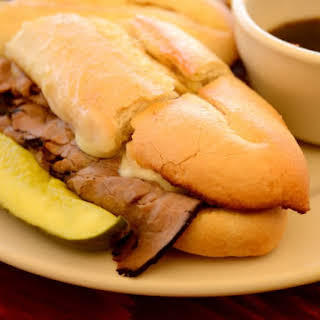 Slow Cooker Red Wine French Dip Sandwiches.