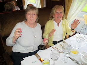 "Photo: Geraldine Sparkes and Josephine O'Connell dinning in style. I think they may have been singing ""Hands up Baby"""