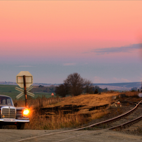 Waiting by Kittie Groenewald - Transportation Trains ( cars, dusk, steam train, train,  )