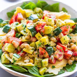 Ravioli and Summer Vegetable Spinach Salad.