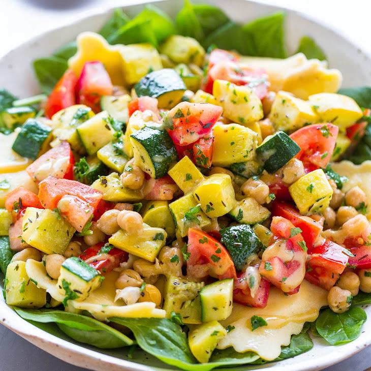 Ravioli and Summer Vegetable Spinach Salad Recipe