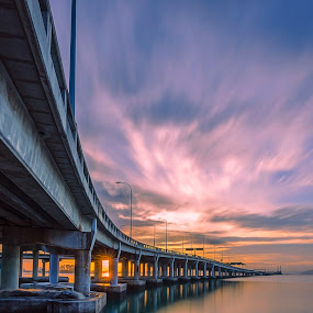 Penang bridge by Ah Wei (Lung Wei) - Buildings & Architecture Bridges & Suspended Structures ( sunrises, george town, tokina 11-16mm f2.8, malaysia, penang island, nikon d7000, george town penang, penangbridge, sunsets, sunset, tokina 11-16mm, penang, long exposure, bridge, sunrise, nikon, tokina, 10 stop nd filter, nd1000 )