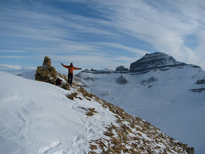 Photo: Rafal on the summit with the real Mt. Saskatchewan on the right.