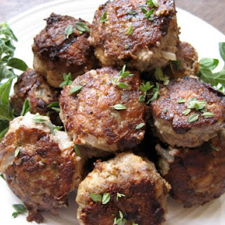 Italian Sausage Meatballs with Fresh Herbs.