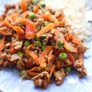 Kheema {Spiced Ground Turkey with Peas}.