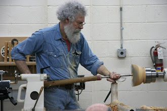 Photo: By request, David does a little quick work and explanation of the cuts with his straight hollowing tool -- the one used for blind hollowing of vessels through a very small opening.