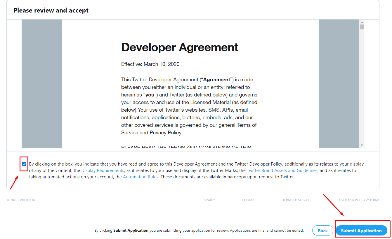 Developer agreement