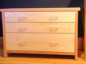 Photo: 3 Drawer cedar dresser with clear fir edge banding.