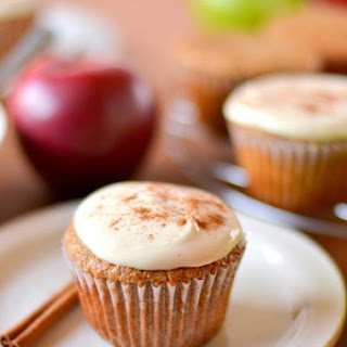 Whole Wheat Applesauce Spice Cupcakes with Greek Yogurt Cream Cheese Frosting.