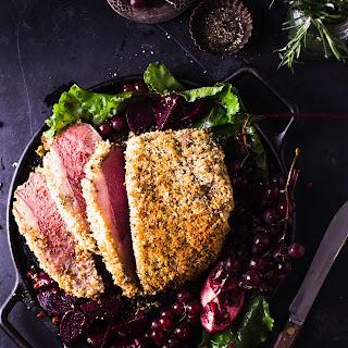 Roast Beef with Garlic and Herb Breadcrumb Crust.