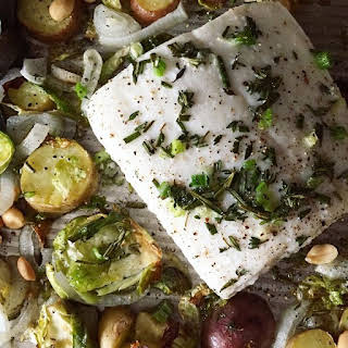 Delicious One Pan Baked Halibut & Simple Vegetables.