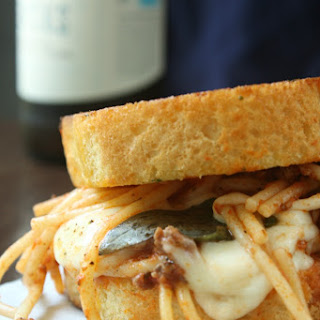 Grilled Mozzarella and Spaghetti Sandwich.