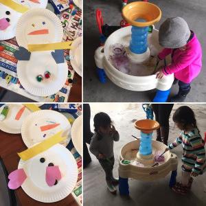 Montage of preschoolers doing art projects