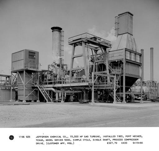 Jefferson Chemical Co., 15,000 hp gas turbine, installed 1965, Port Neches, Texas, model series 5000, simple cycle, single shaft, process compressor drive.