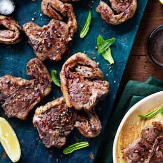 Lemon + Garlic Lamb Chops with Minty Feta Dip.