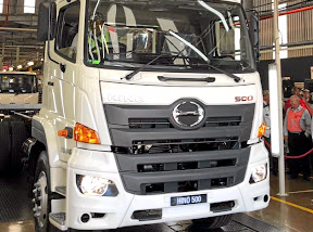 The first Hino 500 Wide Cab model rolls off the assembly line at the plant in Durban. Picture: MARK SMYTH