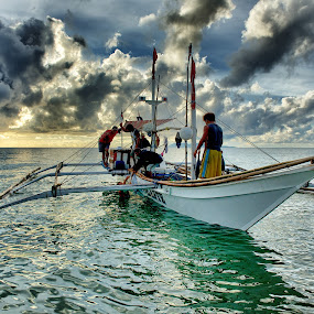 After the Catch by James Bokovoy - Professional People Agricultural Workers ( gloria, mindoro, sunrise, fishing, boat, fisherman, philippines )