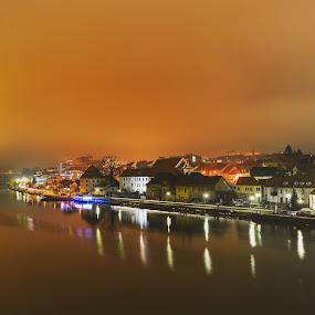 Maribor by Mitja Kosi - City,  Street & Park  Night ( maribor oldcity night fog drava )
