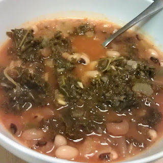 Black Eyed Pea Soup with Collards and Kale.