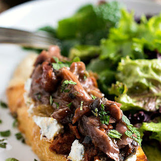 Lamb and Eggplant Crostini with Salad