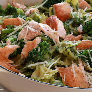 Salmon Pesto Pasta with Broccoli.