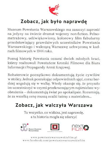 Tył ulotki filmu 'Powstanie Warszawskie'