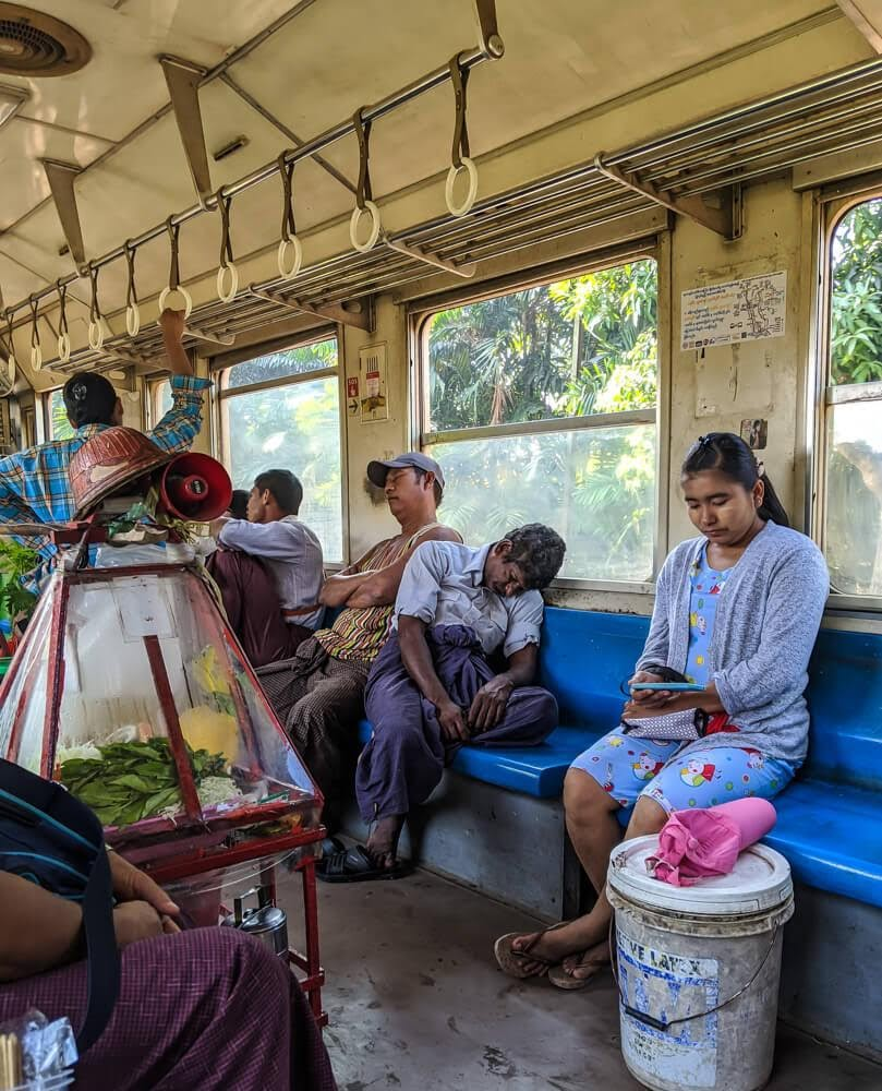 burmese people on yangon circle line