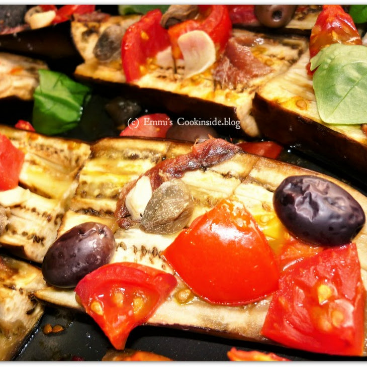 Eggplants Boats With Capers And Olives