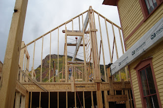 Photo: Second floor framing in late September, top beam put in place by Loren with no help--amazing.