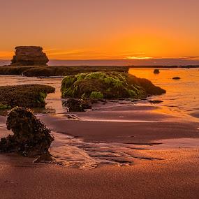 Sunset at Pulpit Rock by Keith Walmsley - Landscapes Sunsets & Sunrises ( shore, sunset, australia, victoria, landscape, rocks, coast )