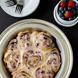 Blueberry Cinnamon Rolls with Maple Cream Cheese Glaze (Whole Wheat)