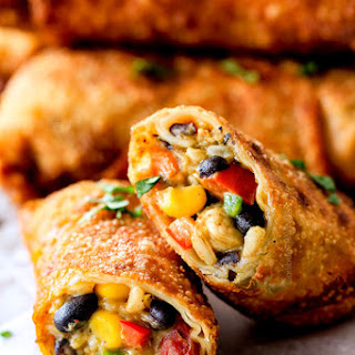 Southwest Egg Rolls with Chicken, Cheese and Avocado.