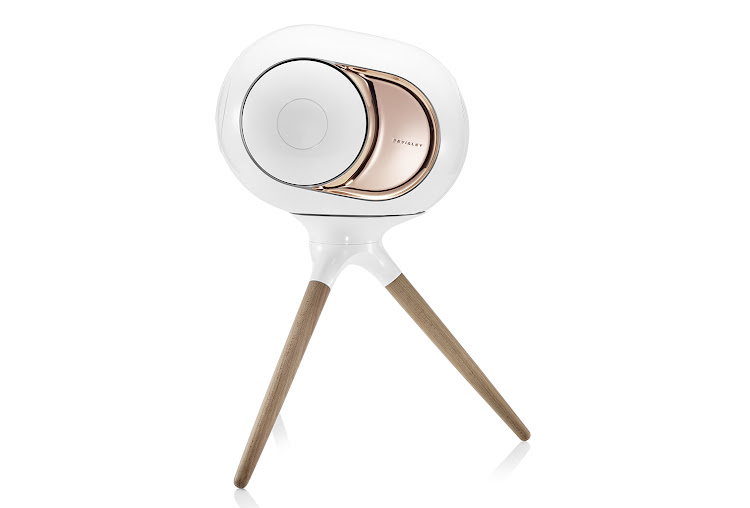 Devialet Phantom Gold on stand accessory.
