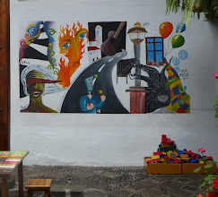 Photo: Recent student work; there is an art school in the courtyard