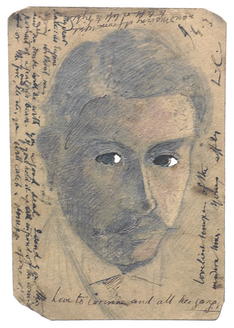 <p> <strong>L&eacute;on Coupey<br /> To Miss Kate Hunt (London)</strong><br /> Self portrait<br /> Ink &amp; crayon on card with cut-outs<br /> 5 &frac12;&quot; x 3 &frac12;&quot;<br /> 1903</p> <p> Collection Tarek Barbir, London &nbsp;<br /> Estate of Marguerite Coupey Barbir, Montreal&nbsp;<br /> Set 3A.1</p>