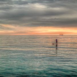 Padleboarder by Fraya Replinger - Transportation Other ( water, michigan, sunset, paddle boarder, summer, lake, paddle )