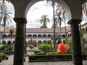 Photo: Monastery courtyard (don't ask me why it's filled with foam animal scultpure)