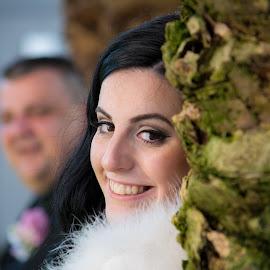 newlyweds by Jurica Žumberac - Wedding Bride & Groom ( love, palm, wedding photography, married, park, wedding, smile, bride, groom, portrait )
