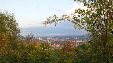 Photo: Blick vom Volmehang der Philippshöhe durch die Hochspannungsdrähte auf die sogenannte Hagener Heide (Drerup-Viertel, Remberg, Lützow-Viertel).